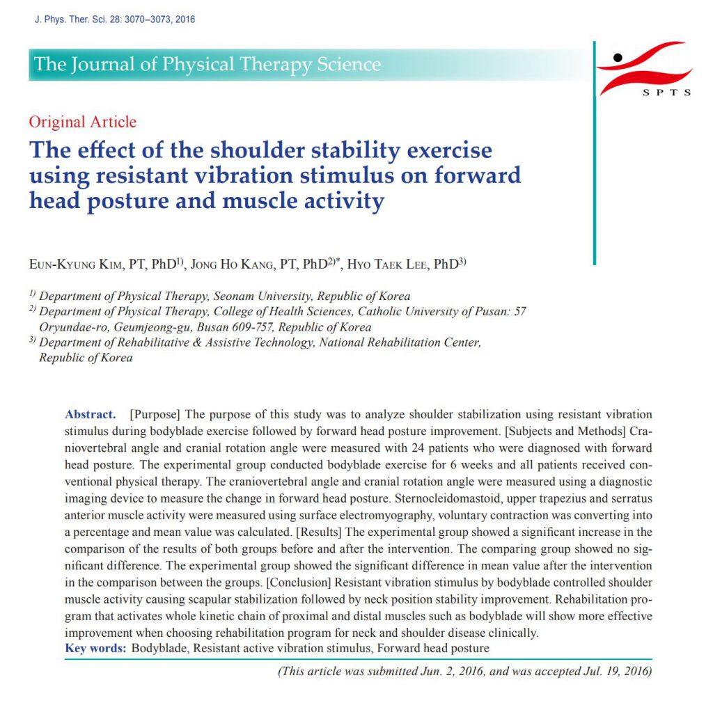 Wibroterapia na ból szyi - artykuł naukowy autorstwa  Eun-Kyung Kim, PT, Jong Ho Kang, Hyo Taek Lee
